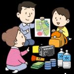 避難場所の確認をする家族のイラスト