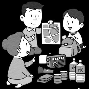 避難場所を確認する家族のイラスト(白黒)