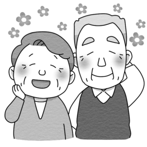 高齢者夫婦のイラスト(白黒)