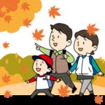 紅葉狩りに出かける家族のイラスト(カラー版)