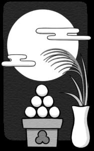 お月見、十五夜のイラスト(白黒)