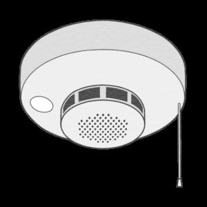 火災報知器のイラスト(白黒版)