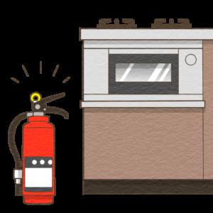消火器をガスコンロの側に設置するイラスト