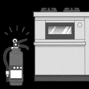 消火器をガスコンロの側に設置するイラスト(白黒版)