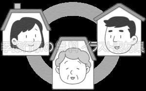 ご近所と連携をとるイメージのイラスト(白黒版)