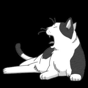 あくびをする猫のイラスト(白黒)