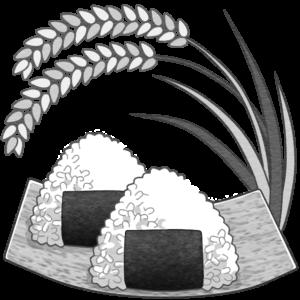 稲とおむすびのイラスト(白黒)