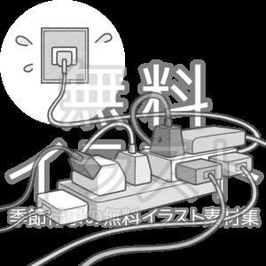 タコ足配線のイラスト(白黒版)
