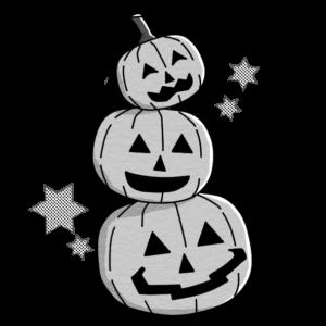ハロウィンのカボチャが三個重なっているイラスト(白黒版)