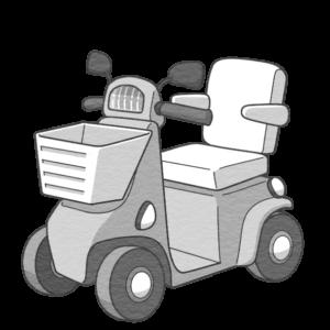 シニアカーのイラスト(白黒版)