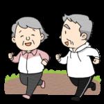 ランニングをする高齢者夫婦のイラスト