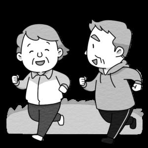 ランニングをする高齢者夫婦のイラスト(白黒)