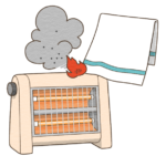 電気ストーブに洗濯物が引火するイラスト(カラー版)