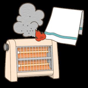 電気ストーブによる火災のイラスト