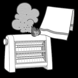 電気ストーブに洗濯物が引火するイラスト(白黒版)
