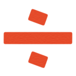 割り算「わる」マークのイラスト(赤)
