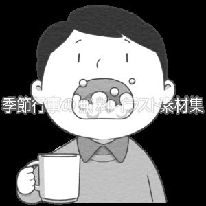 うがいをする人のイラスト(白黒版)