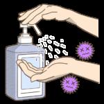 手の消毒のイラスト(カラー版)