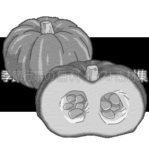 かぼちゃ(南瓜)のイラスト(白黒版)