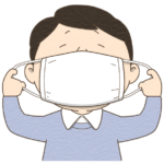 マスクをする人のイラスト(カラー版)