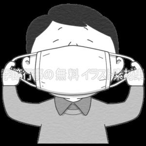 マスクをする人のイラスト(白黒版)