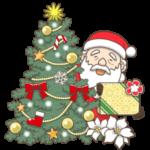 クリスマスツリーとサンタのイラスト(カラー版)
