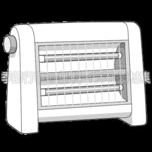 電気ストーブのイラスト(白黒版)