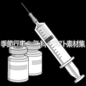 ワクチンと注射器のイラスト(白黒版)