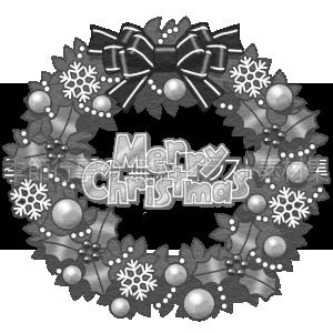 クリスマスリースのイラスト(白黒版)