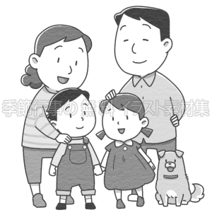 4人家族のイラスト(白黒版)