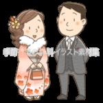 成人式にて振袖とスーツを着ている男女のイラスト(カラー版)