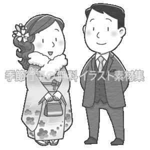 成人式にて振袖とスーツを着ている男女のイラスト(白黒版)です