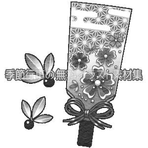 羽子板のイラスト(白黒版)