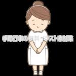女性看護師がお辞儀をしているイラスト(白い制服)