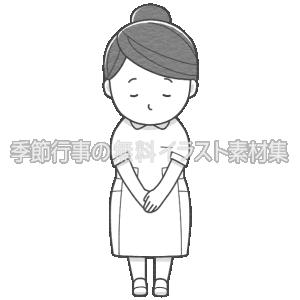女性看護師がお辞儀をしているイラスト(白黒版)