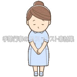 女性看護師がお辞儀をしているイラスト(ブルーの制服)