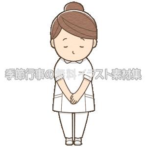 女性看護師がお辞儀をしているイラスト(パンツ白衣)