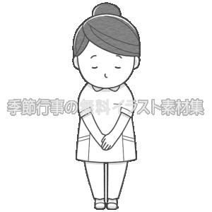 女性看護師がお辞儀をしているイラスト(パンツ白衣)(白黒版)