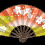 桜の描かれた扇子のイラスト(カラー版)