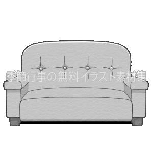 二人掛けソファーのイラスト(白黒版)