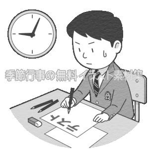 時計の前で試験(テスト)を受ける男子学生のイラスト(白黒版)です