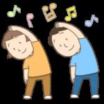 ラジオ体操をする男女のイラスト(カラー版)