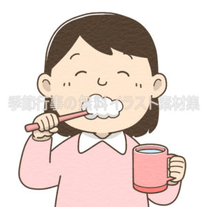 歯磨きをする女の子のイラスト(カラー版)