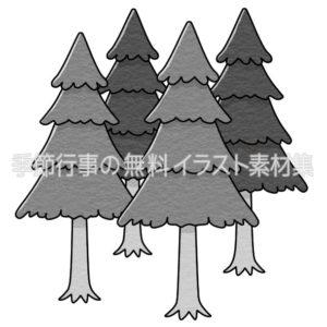 杉の木のイラスト(白黒版)
