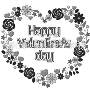バレンタインのタイトル文字のイラスト(白黒版)