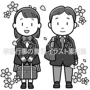入学式(中学生)のイラスト(白黒版)