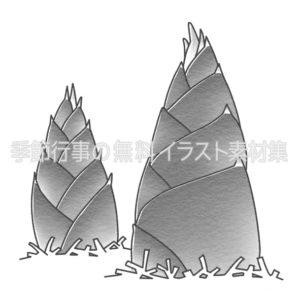 タケノコ(竹の子)のイラスト(白黒版)