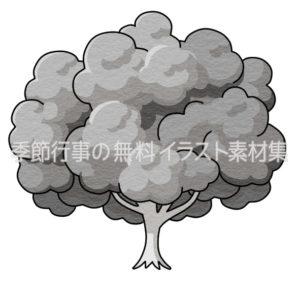 大きな木のイラスト(白黒版)