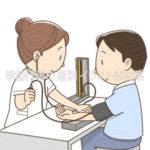 血圧測定をしている看護師のイラスト(カラー版)