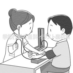 血圧測定をしている看護師のイラスト(白黒版)